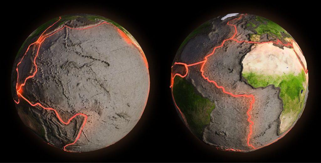 Earth and tectonic plates.