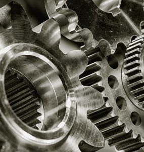 A close-up of machine cogs