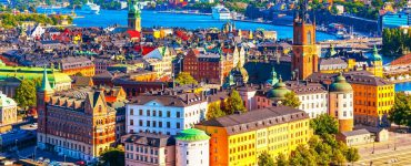 Colourful buildings in the city of Stockholm, Sweden