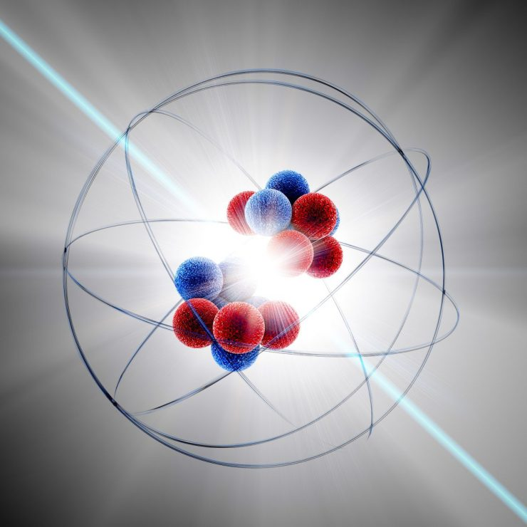A model of an atom being split.