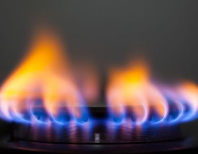 A flame from a gas cooker