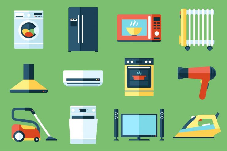 An illustration of household appliances