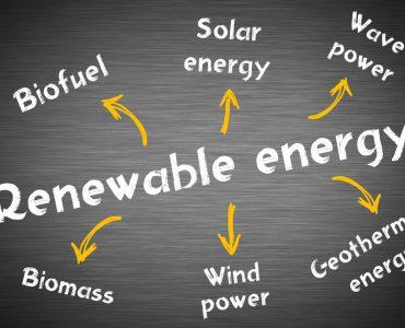 A chalkboard with 'renewable energy' written on it