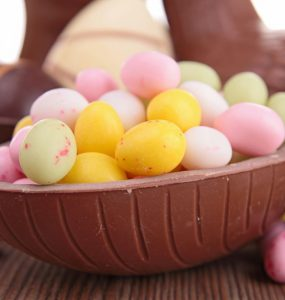 Mini Easter eggs within a chocolate shell