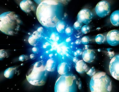 Many Earths exploding from a central point