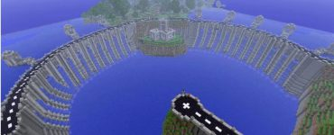 A hydroelectric dam built in Minecraft
