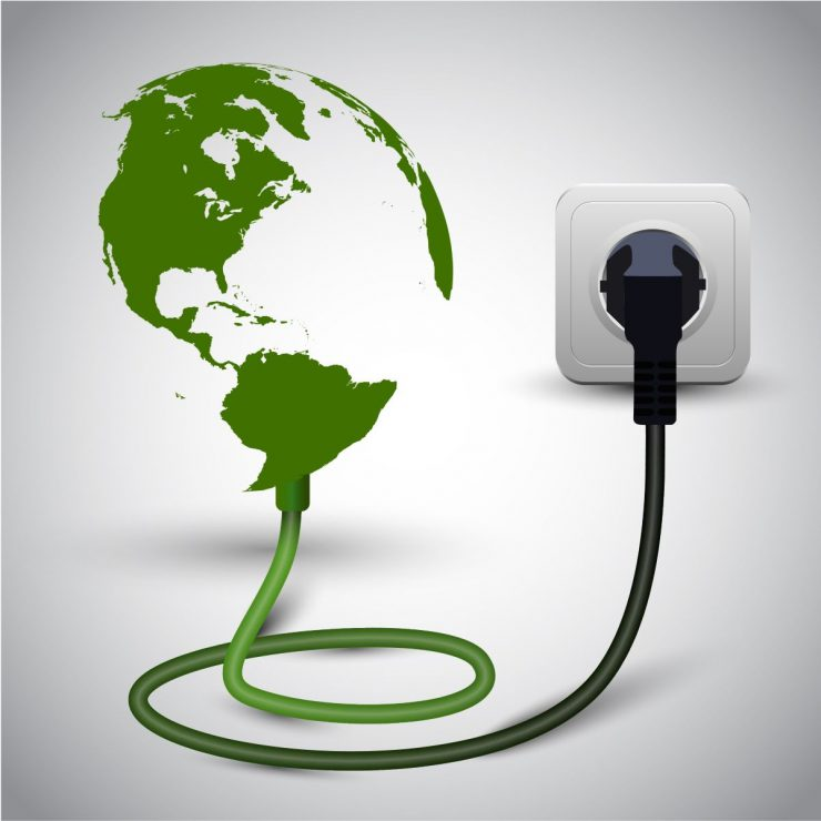 a globe and electrical plug