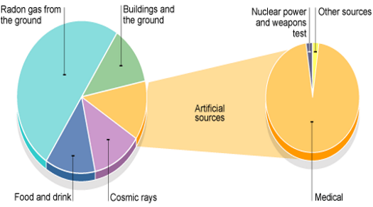 A diagram showing sources of everyday radiation