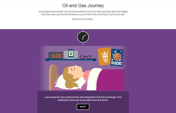 A screenshot from the Oil and Gas Journey