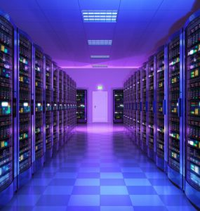 Inside a data server room