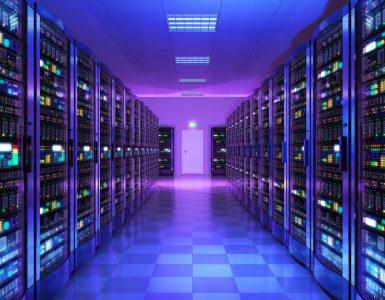 Inside a data server room