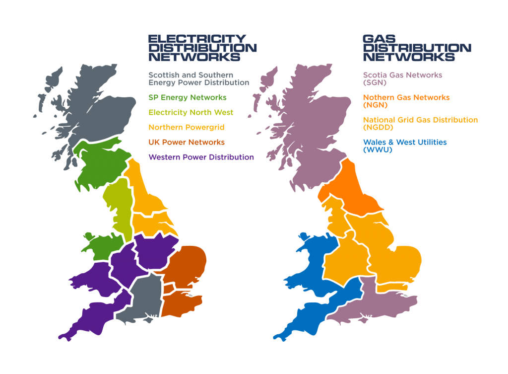 A map of Scotland, England and Wales showing the electricity and gas distribution networks.