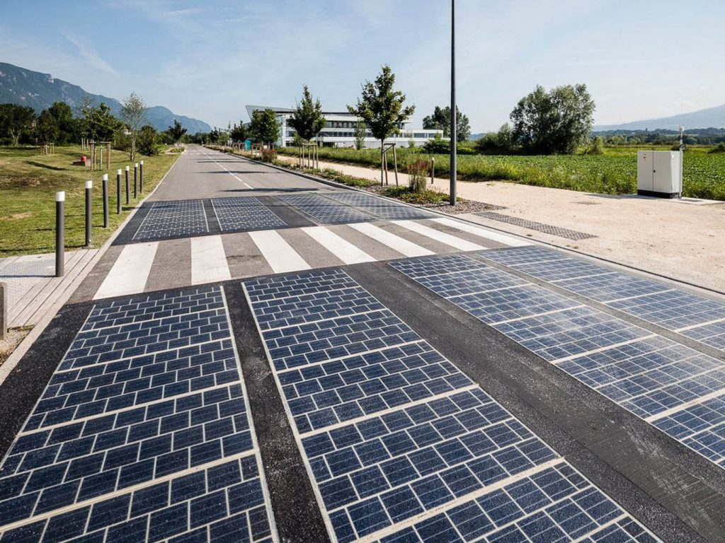 Solar panels embedded in the road.