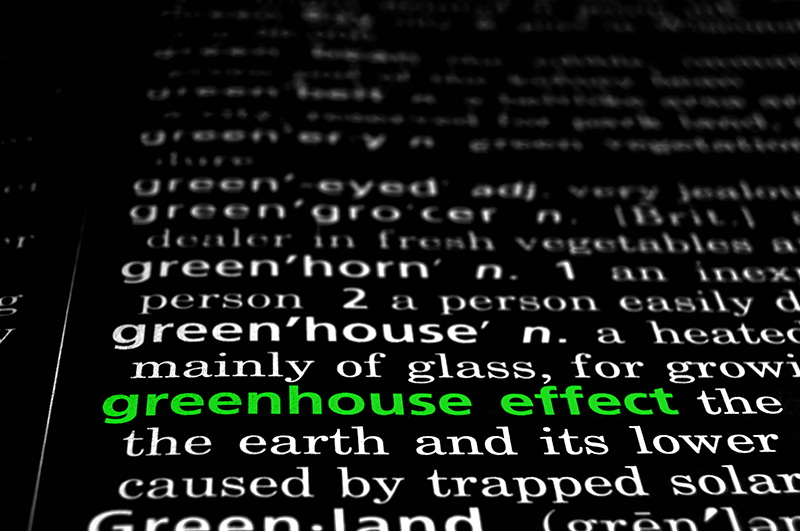 """The phrase, """"greenhouse effect"""" is highlighted green on the page of a dictionary."""