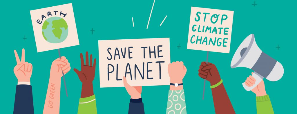 """An illustration shows raised hands holding a variety of signs with messages like, """"Save the planet"""" and """"Stop climate change""""."""
